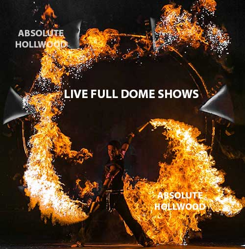 live 360 fulldome show projection dome show with dragon's fire in full dome