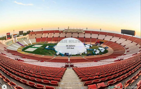 Largest Portable Video Air Dome in the World, Los Angeles Memorial Coliseum DOT Party