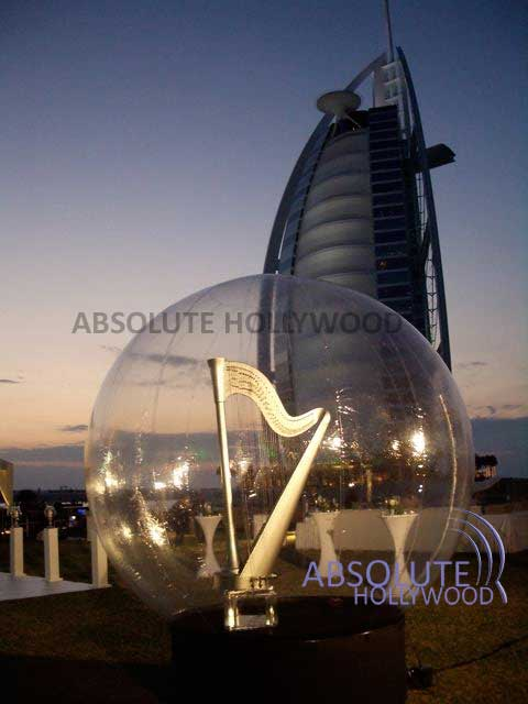 Dubai Harp Globe Large Snow Globe Inflatable Snow Globe