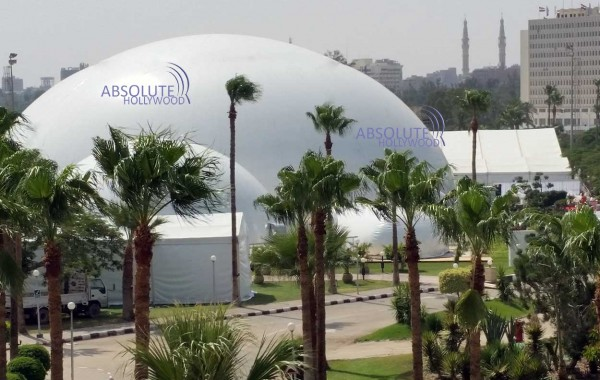 Video Dome Projection 360 Screen View in Portable Video Air Dome Egypt Suez Canal Grand Opening