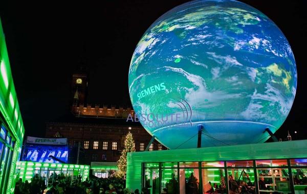 Copenhagen COP15-Earth-View-Immersive-Panorama-360-Video-Display-Screen-Sphere-Globe