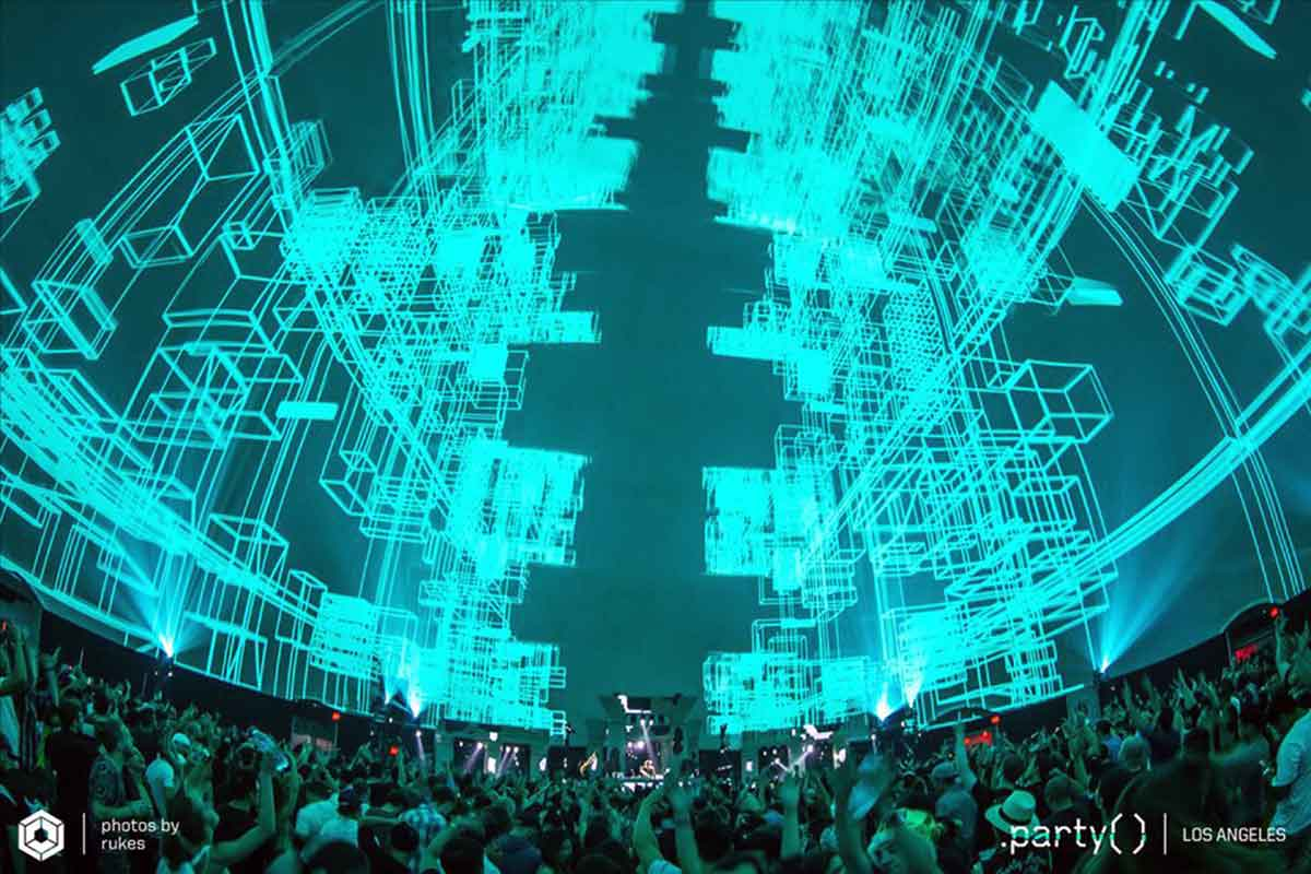 Skrillex at Immersive 360 Video-Dome-Air-Structure-Show-Dome