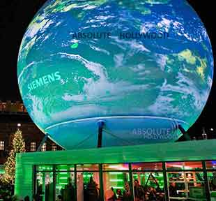 World's Largest 360 Video Screen Sphere in Denmark. Live 360 Video Screen Panoramas.