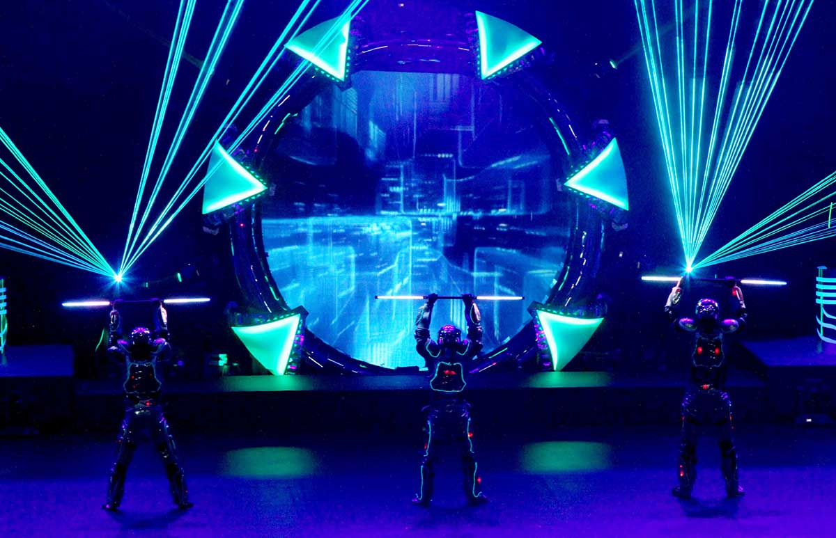 Video Fulldome Show Live Theater 360 Video Projection Dome Show Lasers & Laser Actors or Performers Live