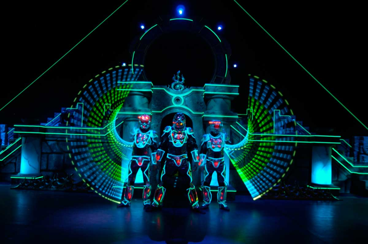Video Fulldome Show Live Theater 360 Video Projection Dome Show Laser Men with LED