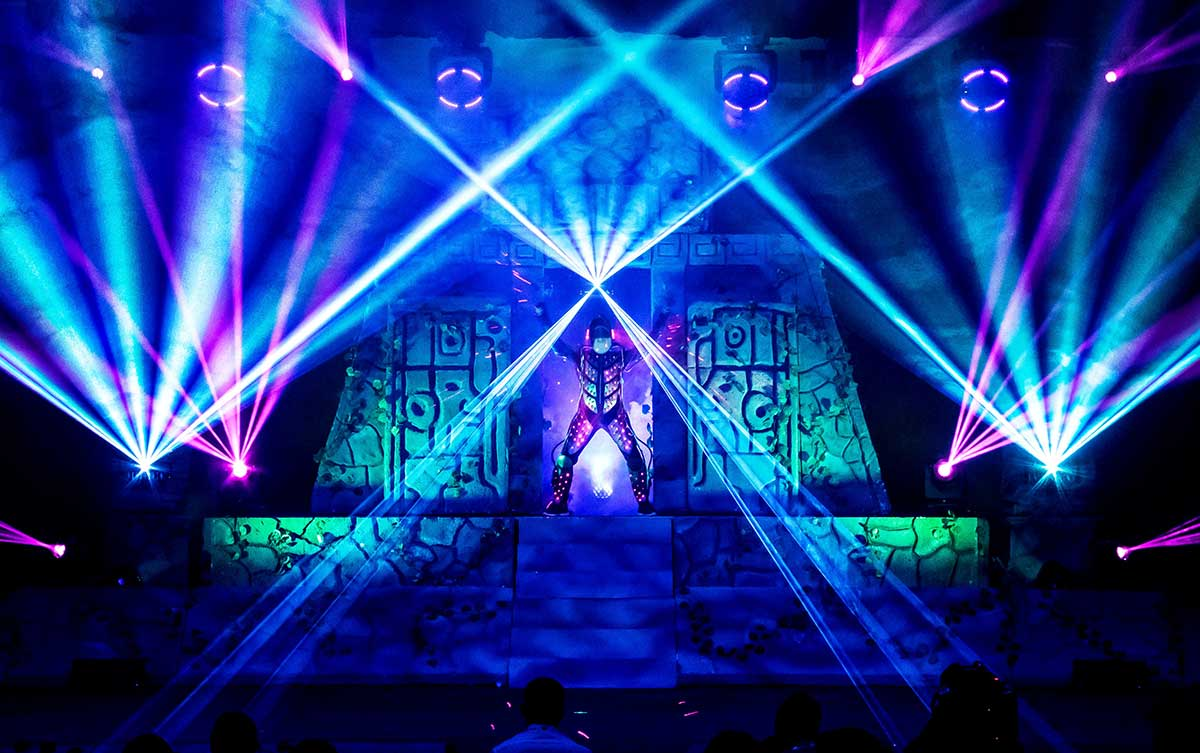 Video Fulldome Show Live Theater 360 Video Dome Projection Dome Show Lasers & Laser Actors or Performers