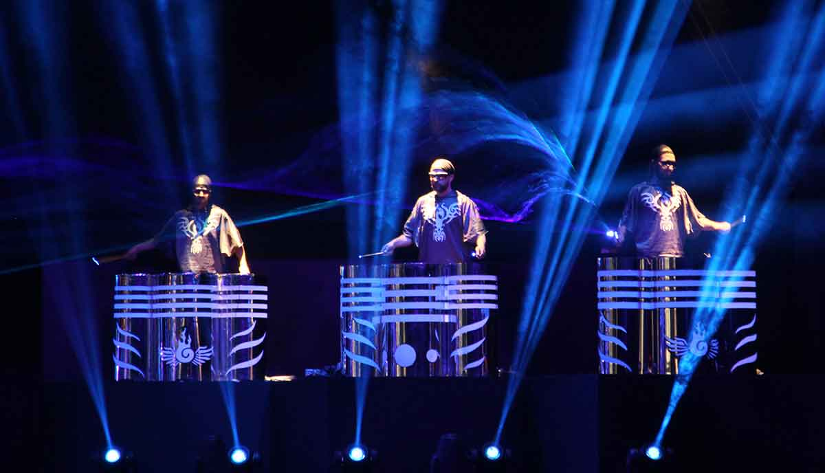 video fulldome show live theater 360 video Vienna Light Orchestra Percussion Drummers with Lasers