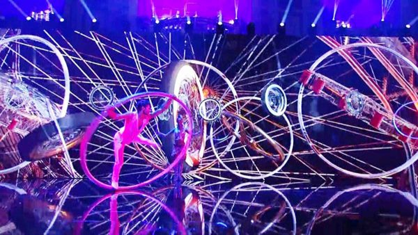 Video Fulldome Show Live Theater 360 Video Projection Dome Show LED, Laser, Hoop Riding