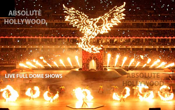Live 360 fulldome video show projection, 360 dome shows, full dome video projection & fire
