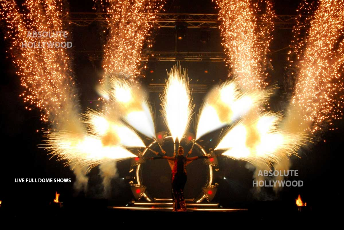 live fulldome video show projection 360 dome shows fire women extravagance