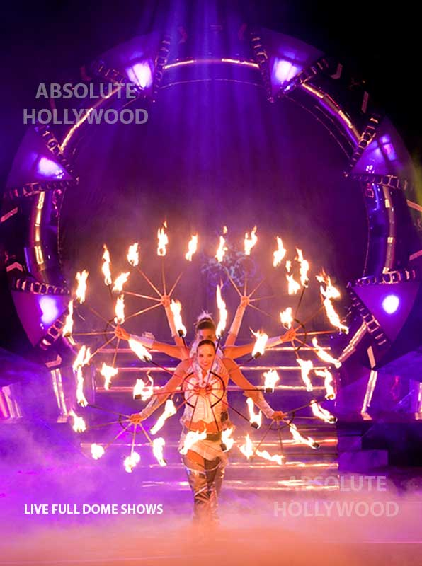 live fulldome video show projection 360 dome shows fire women in dome