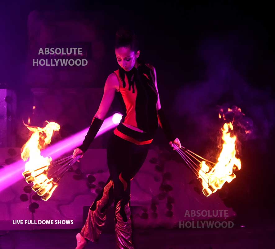 live fulldome video show projection 360 dome shows fire woman in dome