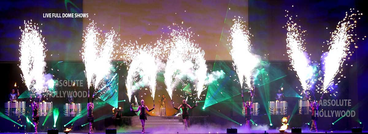 live fulldome video show projection 360 dome shows fire & laser show