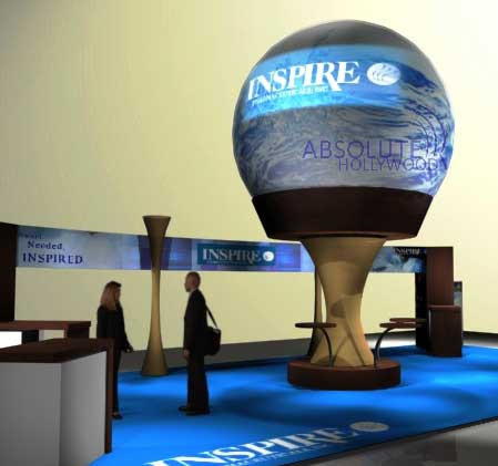 Event Interactive 360 Video Display Sphere for Trade Shows, Conventions and Corporate Lobbies with Earth Globe View on Raised Pedestal.