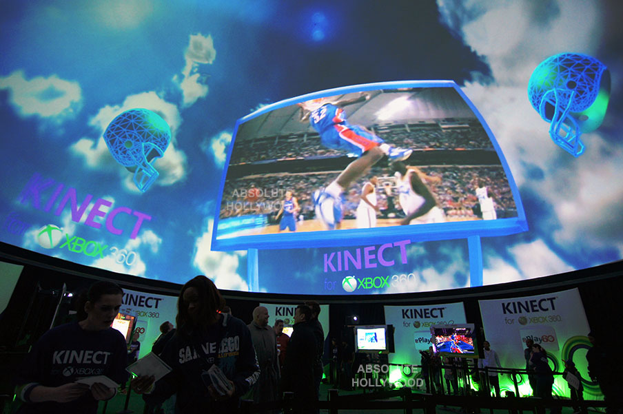 kinetic Xbox Stratosphere dome inflatable video projection dome super bowl immersive interactive venue