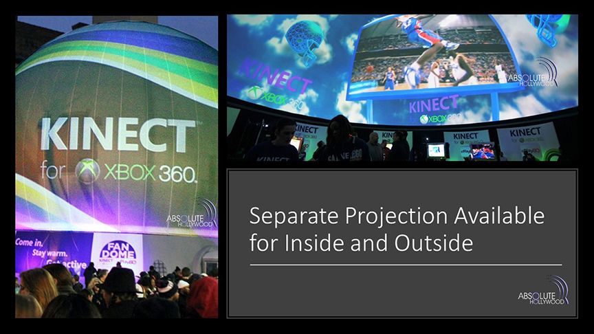 Stratosphere dome Kinect Xbox Super inflatable 360 dome venue