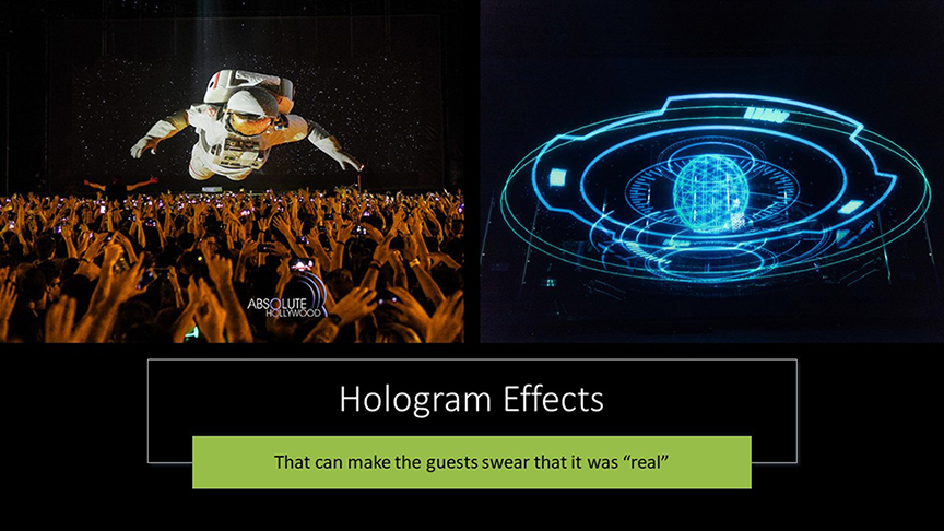 Stratosphere dome hologram effects in 360 projection dome