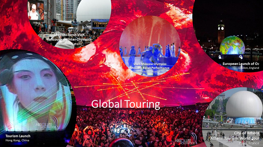 Stratosphere dome touring portable inflatable 360 video stratosphere projection video dome events
