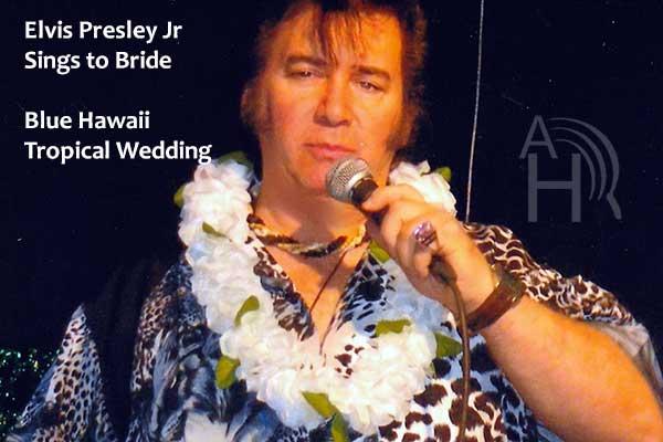 Elvis Presley lookalike impersonator Elvis Jr Sings at Blue Hawaii Beach Wedding Venue